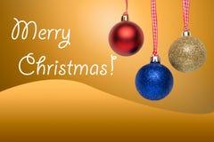 Palle dell'albero di Natale - cartolina d'auguri Fotografia Stock Libera da Diritti