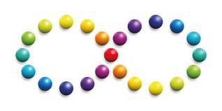 Palle dell'arcobaleno di simbolo di infinito dello spettro di colori Immagine Stock Libera da Diritti