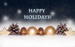 Palle dell'oro sul fondo blu di Natale Fotografie Stock Libere da Diritti