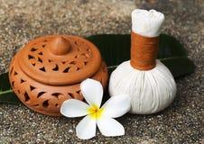 Palle della compressa di massaggio della stazione termale, palla di erbe con il fiore, Tailandia Fotografia Stock