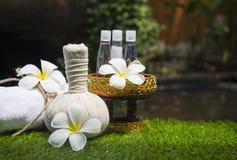 Palle della compressa di massaggio della stazione termale, palla di erbe con sale, curcuma ed aroma, Tailandia, fuoco scelto Fotografia Stock Libera da Diritti