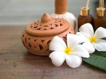 Palle della compressa di massaggio della stazione termale, palla di erbe sul di legno con la stazione termale di trattamenti Fotografia Stock