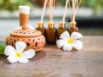 Palle della compressa di massaggio della stazione termale, palla di erbe sul di legno con la stazione termale di trattamenti Immagini Stock Libere da Diritti
