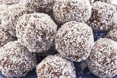 Palle della noce di cocco e del cioccolato Immagine Stock Libera da Diritti