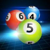Palle di bingo su un fondo blu Illustrazione di vettore Fotografia Stock