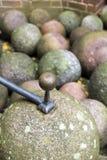 Palle di cannone di pietra Fotografia Stock
