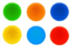 Palle di capelli colorate della pelliccia rappresentazione 3d Fotografia Stock Libera da Diritti