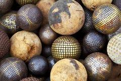 Palle di legno e metalliche Fotografia Stock Libera da Diritti