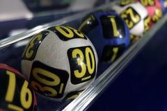 Palle di lotteria durante l'estrazione Fotografia Stock