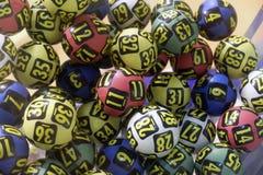 Palle di lotteria durante l'estrazione Fotografia Stock Libera da Diritti