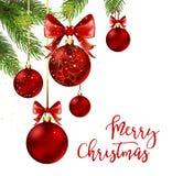 Palle di Natale con il nastro e gli archi rossi Immagine Stock