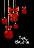Palle di Natale con il nastro e gli archi rossi Fotografie Stock Libere da Diritti