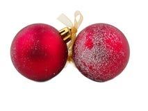 Palle di Natale con il nastro Isolato su bianco Immagine Stock Libera da Diritti