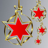 Palle di Natale con la stella rossa illustrazione di stock