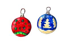 Palle di Natale dell'acquerello immagini stock