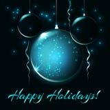 Palle di Natale, illustrazione per la carta di natale Fotografia Stock Libera da Diritti