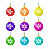 Palle di Natale su bianco Fotografia Stock Libera da Diritti