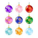 Palle di Natale su bianco Immagini Stock Libere da Diritti