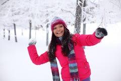 Palle di neve del gioco Fotografie Stock Libere da Diritti