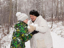 Palle di neve del gioco Fotografia Stock Libera da Diritti