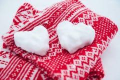Palle di neve a forma di cuore Fotografie Stock Libere da Diritti