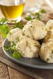 Palle di pane azzimo casalinghe con prezzemolo Fotografia Stock Libera da Diritti