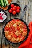 Palle di pesce in salsa al pomodoro immagine stock libera da diritti