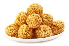 Palle di riso fresche con melassa Fotografia Stock