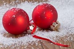 Palle di rosso di Natale Fotografie Stock