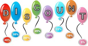 Palle di sconto con l'etichetta delle percentuali illustrazione di stock