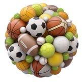 Palle di sport isolate su fondo bianco Fotografie Stock Libere da Diritti