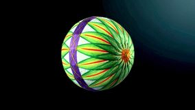 Palle di Temari, una palla dell'artigianato nello stile giapponese tradizionale su backgroung scuro immagine stock