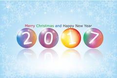 Palle di vetro colorate con 2017 nuovi anni Fotografia Stock Libera da Diritti