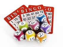 Palle e carte di bingo Immagini Stock Libere da Diritti