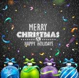 Palle e coriandoli di Natale Fotografie Stock