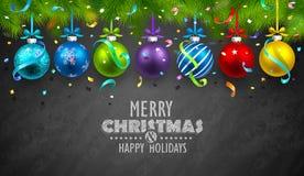 Palle e coriandoli di Natale Fotografia Stock