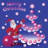 Palle e Santa di Natale Buon Natale illustrazione di stock