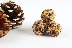 Palle fatte a mano del vegano fatte dalla noce di cocco, dai mirtilli rossi e dai dadi fotografia stock