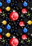 Palle, fiocchi di neve e stelle di Natale su un fondo nero Immagine Stock