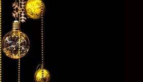 Palle isolate di natale con le ghirlande su un fondo nero per le cartoline di Natale, saluti, illustrazioni del nuovo anno Immagine Stock Libera da Diritti