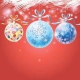 Palle multicolori di Natale di festa Fotografie Stock Libere da Diritti