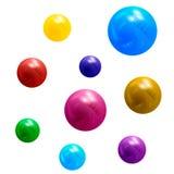 Palle multicolori metalliche 3D Elemento di disegno Fotografia Stock