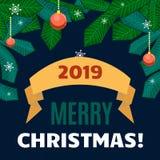 Palle, nastri e rami di Natale dell'albero di Natale su fondo blu scuro Fotografia Stock