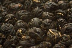 Palle nere cinesi della foglia di tè Fotografia Stock Libera da Diritti