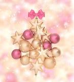 Palle rosa e dorate con le luci magiche Fotografia Stock
