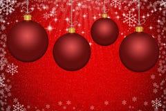 Palle rosse astratte di Natale con il backgroun dei fiocchi di neve e delle stelle illustrazione vettoriale
