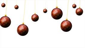 Palle rosse d'attaccatura di Natale con un modello su un fondo bianco royalty illustrazione gratis