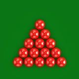 palle rosse dello snooker 3d pronte per la rottura Immagine Stock