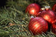 Palle rosse di Natale con iscrizione dorata Fotografia Stock