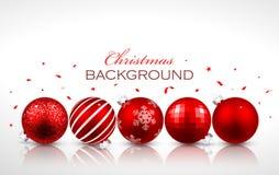Palle rosse di Natale con la riflessione Immagine Stock Libera da Diritti